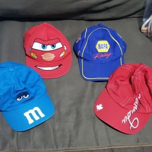 4 boys hats youth size M&Ms, napa, cars, canada